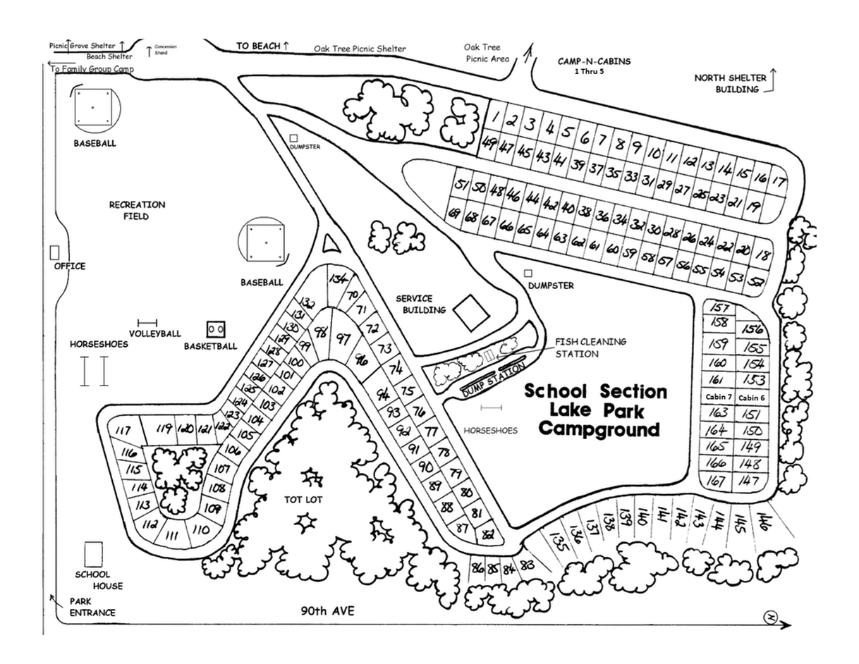 School Section Lake Veterans Park campground map